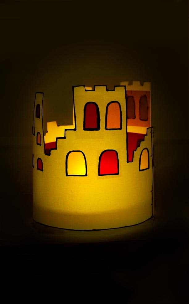 Halloween Windlicht Burg zum nachbasteln