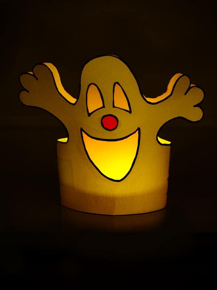 Halloween Windlicht Freundliches Gespenst zum nachbasteln