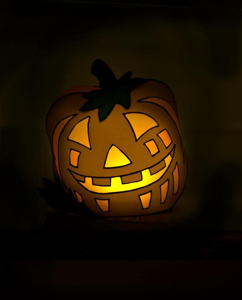 Halloween Windlicht Lustiger Kürbis zum nachbasteln