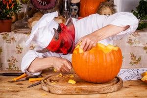 Halloween Kürbis schnitzen Details
