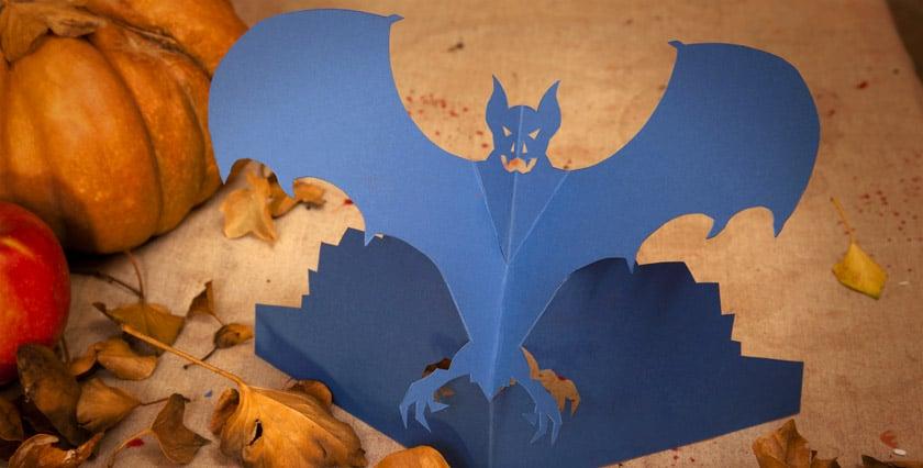 Eine Fledermaus als Halloween Tisch Dekoration