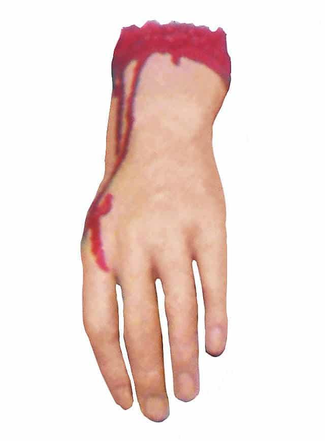Abgehackte blutige Hand Grausige Deko für Halloween