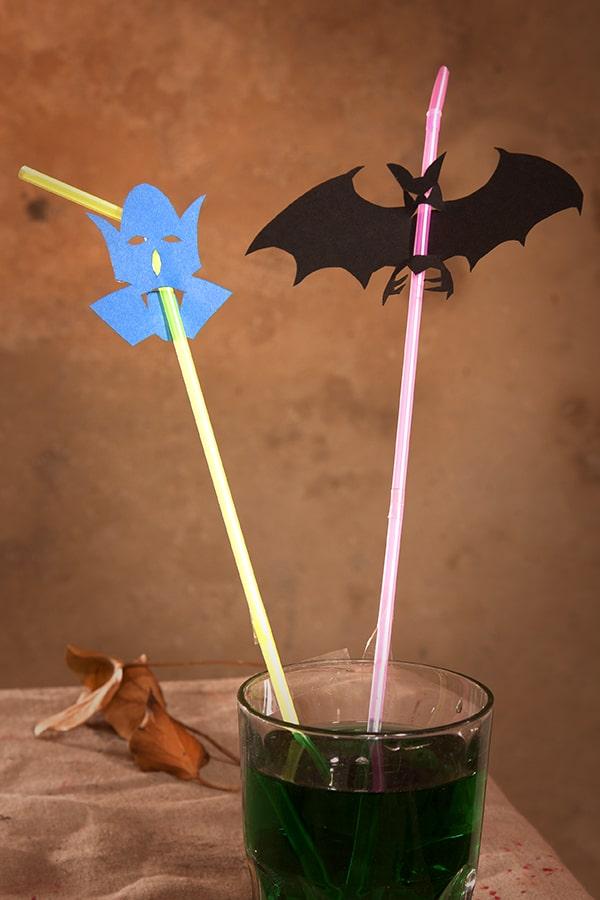 Lustige Halloween Strohhalme Motive Vampir und Fledermaus