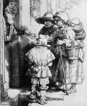 Bettler in Zeichnung von Rembrandt Van Rijn