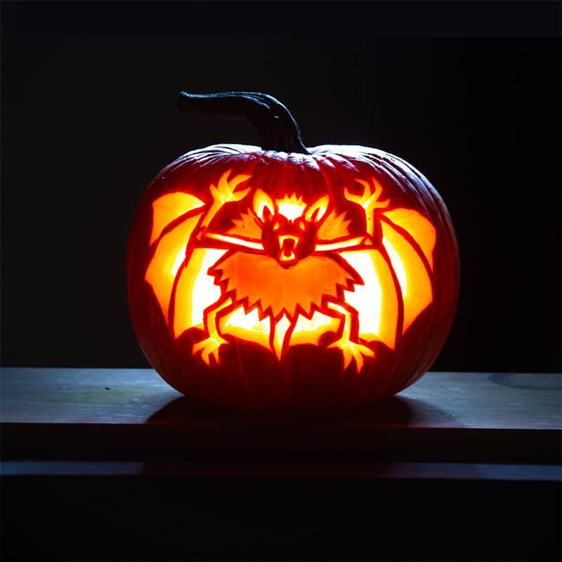 Kuerbislaterne Jack O Lantern mit Fledermaus