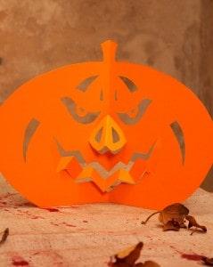 Papier Kürbis als Halloween Tisch Deko