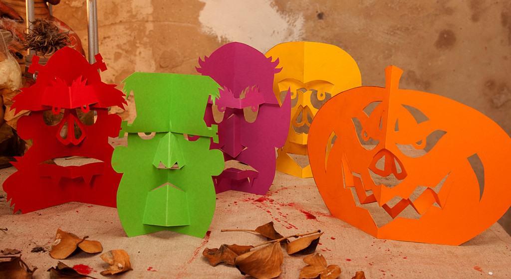 Monstergesichter für die Halloween Tischdeko