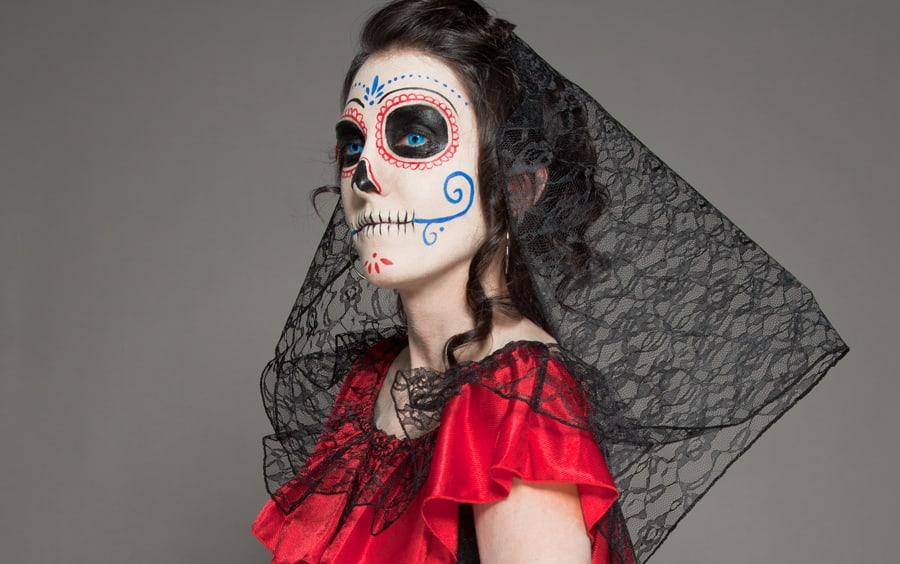 Porträt Dia de los Muertos Halloween Make-up