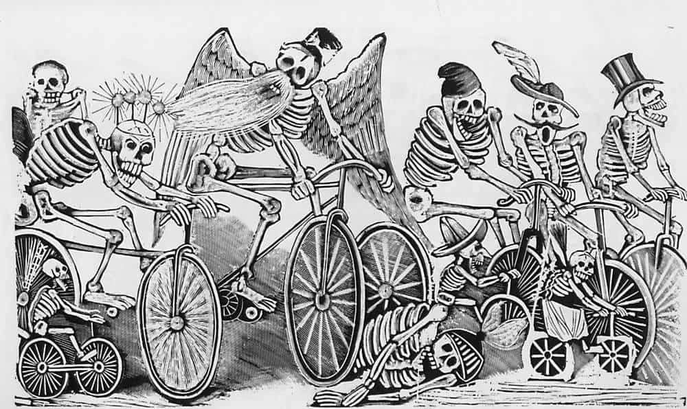 Skelette auf Fahrrädern
