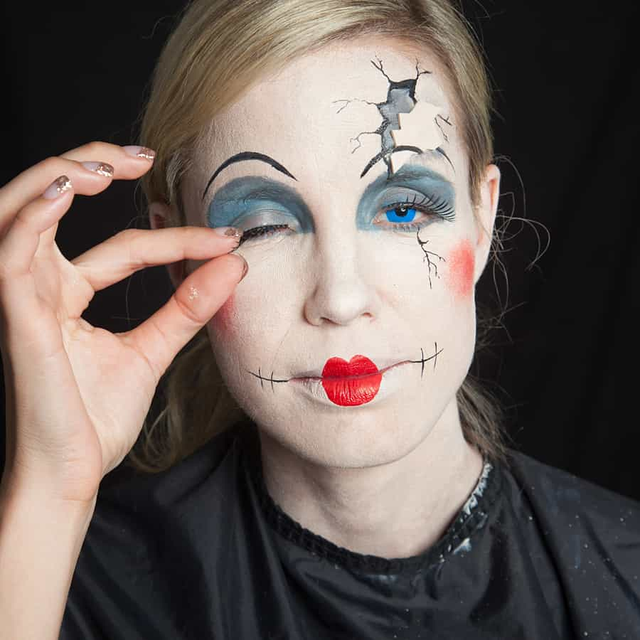 Cracked porcelain doll makeup
