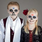 Süßes Halloween Make up für Kinder als Dia de los Muertos Sugar Skulls
