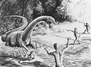 Eine weitere Szene, in der Pygmäen vom Volk der Baka gegen Mokele-Mbembe kämpfen. | © http://paranormalifefrance.files.wordpress.com/2013/10/mokele_mbembe.jpg
