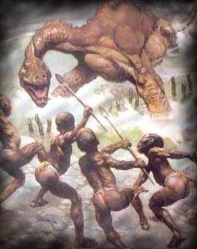 Pygmäen vom Volk der Baka im Kampf mit dem Mokele-Mbembe | © http://www.relativelyinteresting.com/wp-content/uploads/2011/07/mokele+mbembe.jpg