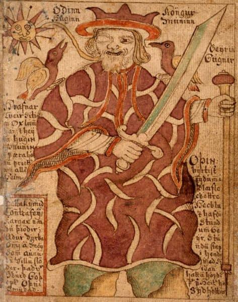 Odin mit seinen Raben - Public Domain