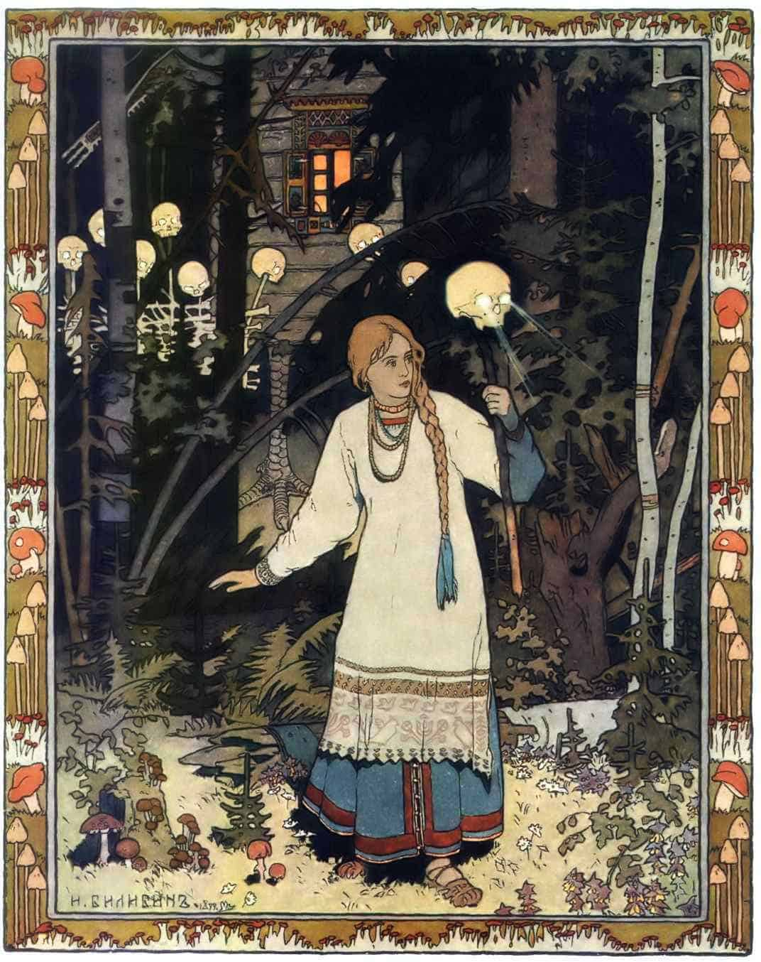 The heroine Vasilisa outside of the hut of Baba Yaga as depicted by Ivan Bilibin (1902) - public domain
