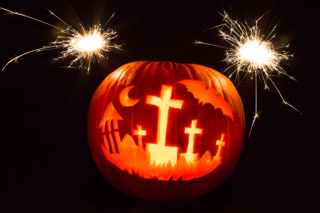 Happy Halloween 2014 - Kürbis mit Wunderkerzen