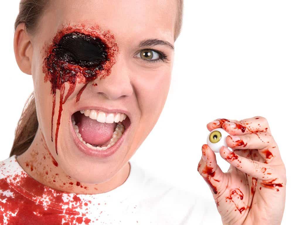 Halloween Schminkanleitung ausgestochenes Auge Schminktipp