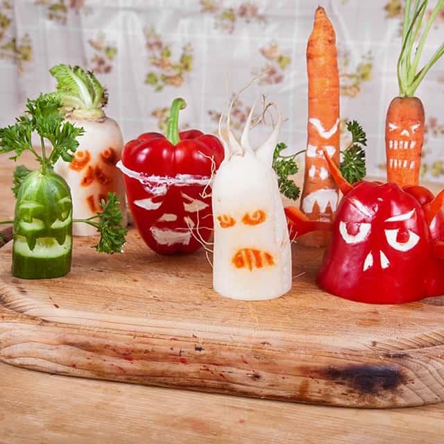 Halloween Rezept für Kinder Gemüsegeister