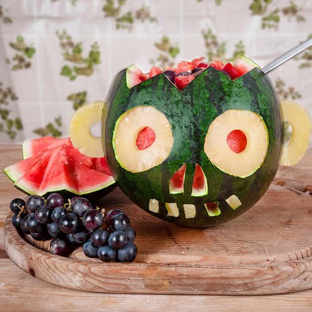 Halloween Rezept Dessert Melonenschädel