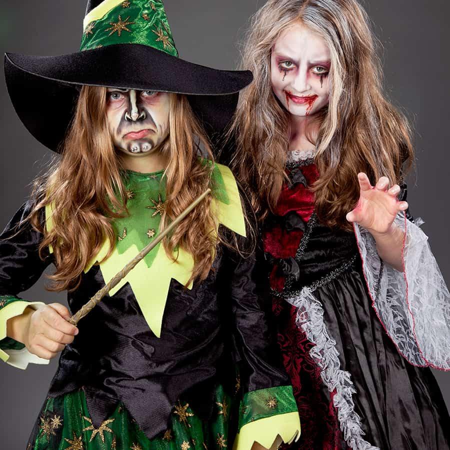 Halloween Kinder Make up Hexe und Vampir